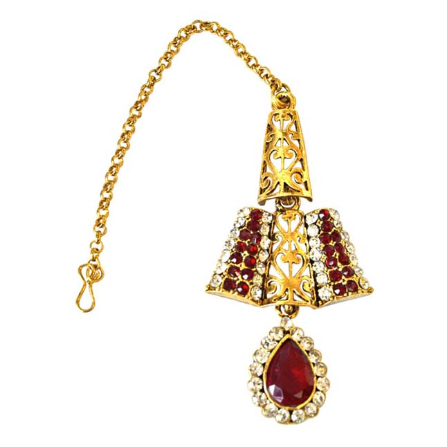 Delicately Designed Red & White Coloured Stone & Gold Plated Necklace Earrings & Manga Tikka Set for Women