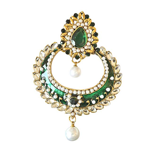 Traditional Green & White Coloured Stone, Shell Pearl & Gold Plated Ch Bali Earrings with Green Enamel
