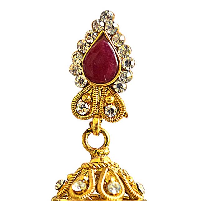 Traditional Drop Shaped Red & White Coloured Stone & Gold Plated Copper Jhumki Earrings