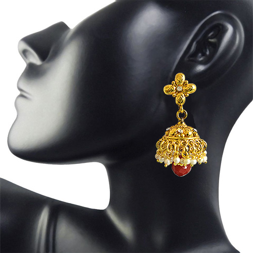 Traditional Gold Plated Copper White & Red Coloured Stone Jhumki Earrings