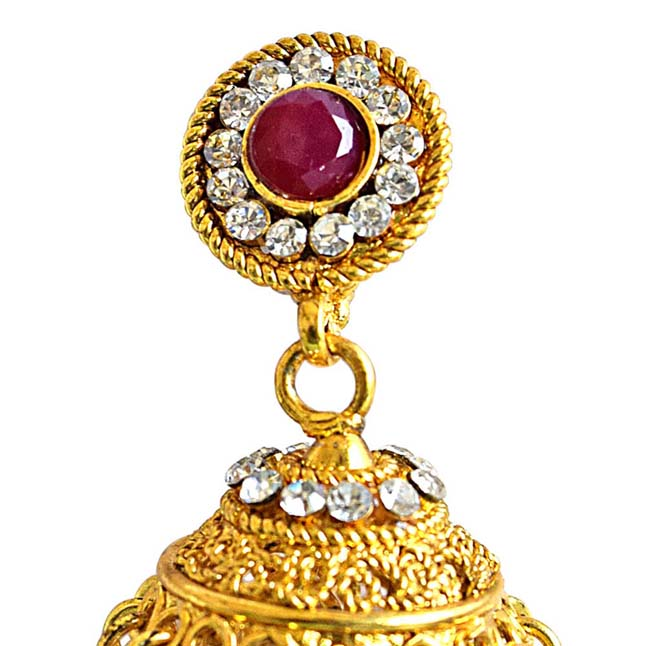 Traditional Red Coloured Stone & Gold Plated Copper Jhumki Earrings