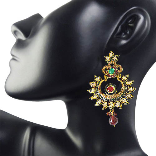 Rajasthani Polki, Red & Green Stone & Gold Plated Dangling Earrings