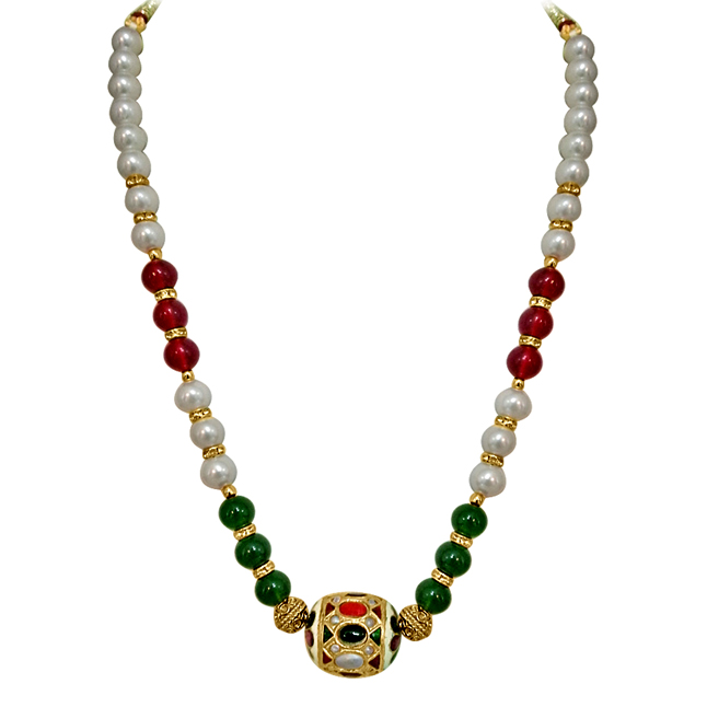 Traditonal Kundan Ball, Shell Pearl & Coloured Beads Necklace. -Necklace