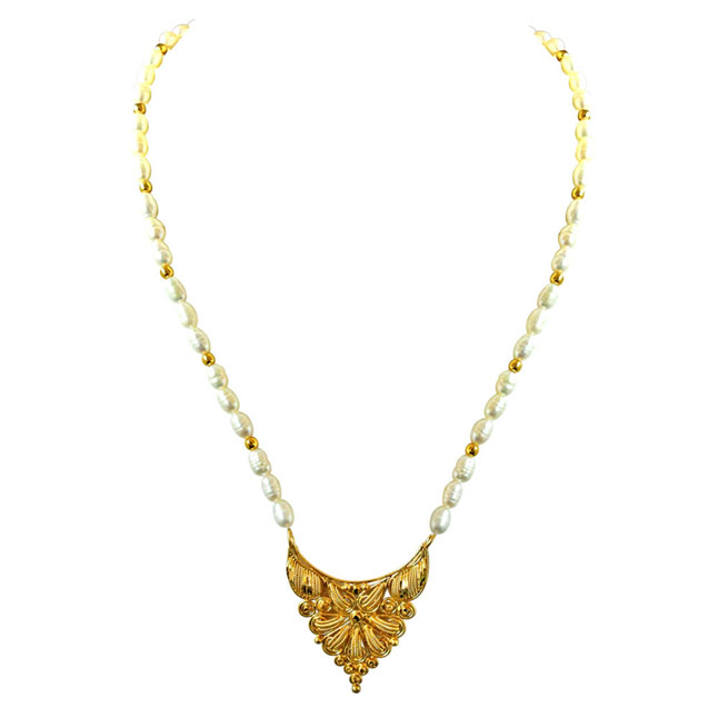 Traditional Gold Plated Pendants, Real Rice Pearl & Gold Plated Beads Necklace with Pearl Studs -Pearl Set
