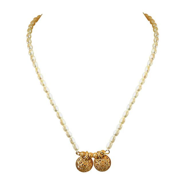 Traditional Mangalsutra Style Gold Plated Vati Pendants & Real Rice Pearl Necklace with Pearl Studs -Pearl Set