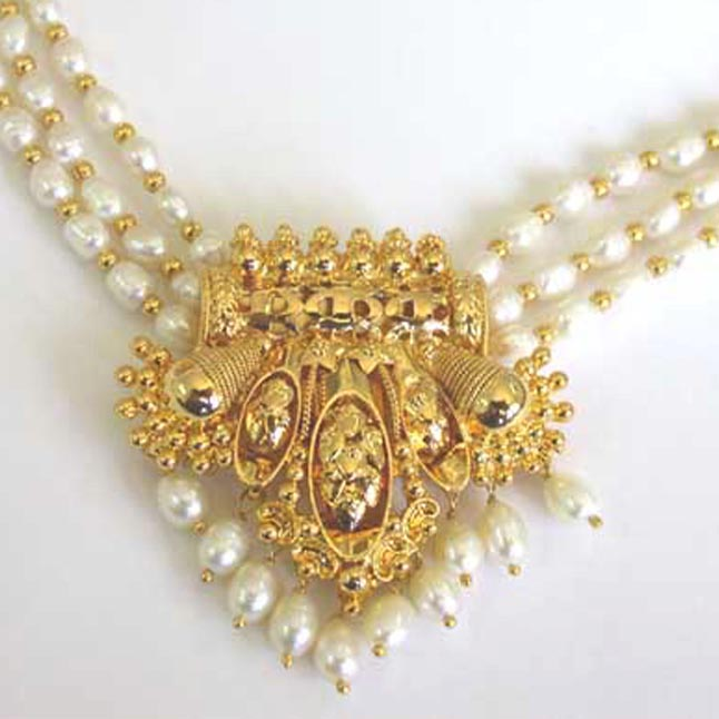 Ornateness - Gold Plated Pendant & 3 Line Real Rice Pearl & Gold Plated Beads Necklace for Women (SP396)