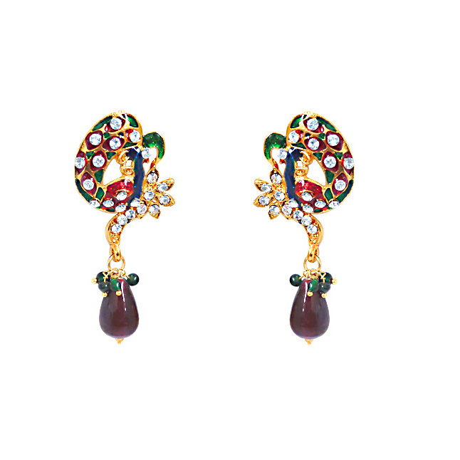 Mesmerising Peacocks -Necklace & Earrings Set