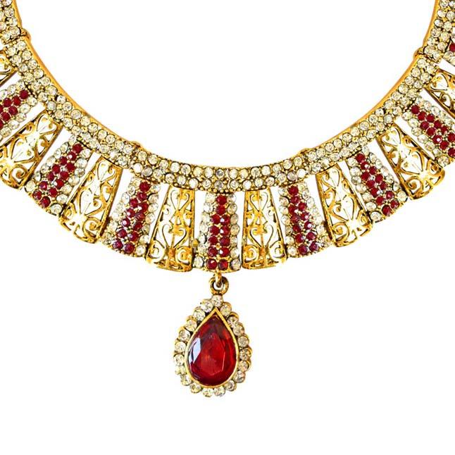 Delicately Designed Red & White Coloured Stone & Gold Plated Necklace Earrings & Manga Tikka Set for Women