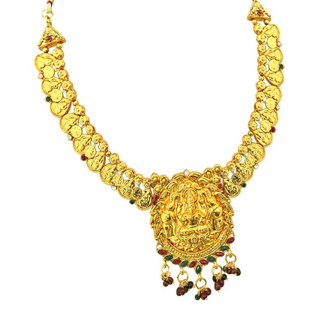 Traditional Gold Plated Necklace & Bali Earrings Fashion Jewellery Set for Women