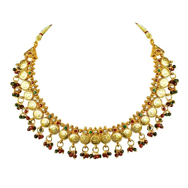 Traditional Red, Green & White Stone & Gold Plated Necklace & Zumkha Earring Fashion Jewellery Set for Women - Jewellery Set