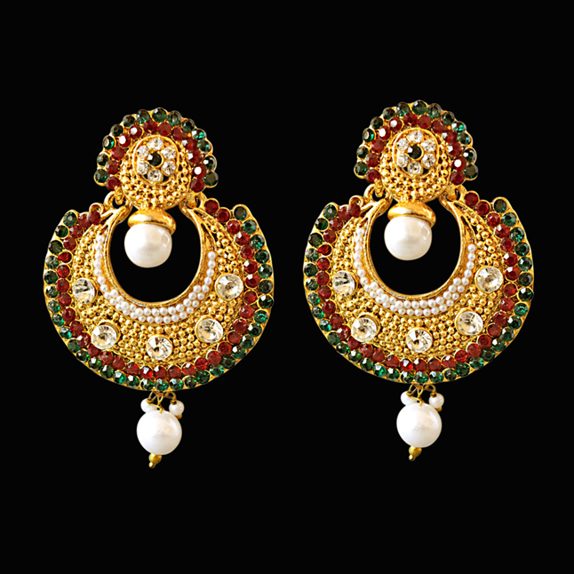 Traditional Round Shaped Red, Green & White Stones & Gold Plated Dangling Fashion Earrings