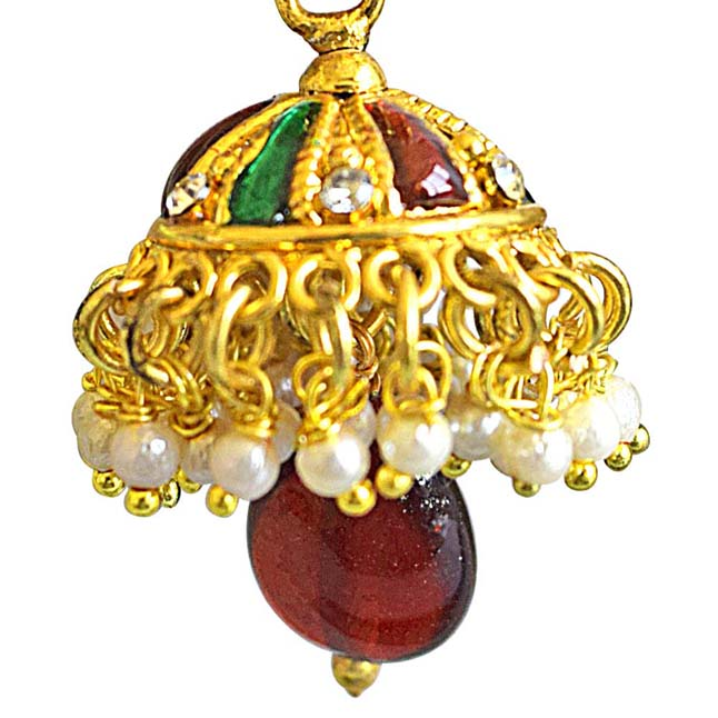 Traditional Red & Green Enamelled Gold Plated Copper Jhumki Earrings Studded with White Stones