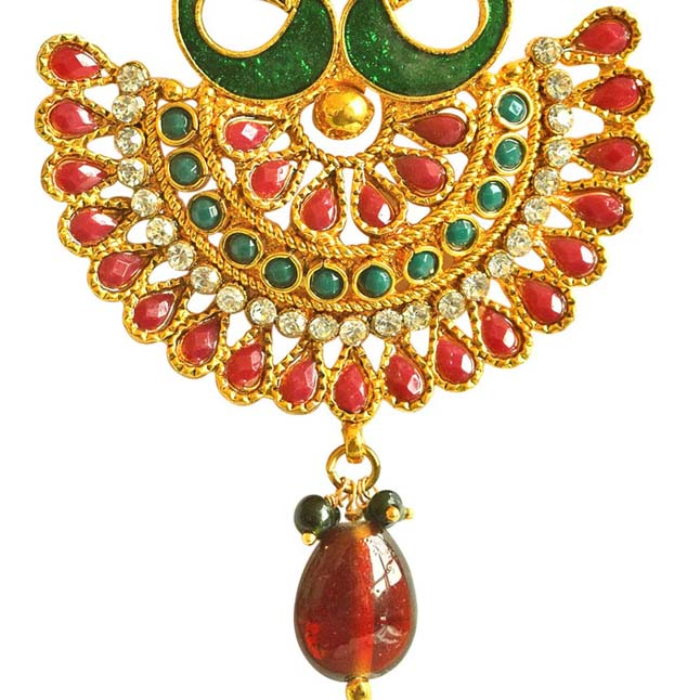 Traditional Peacock Shaped Red & Green Enamelled & Coloured Stone Studded Gold Plated Copper Earrings