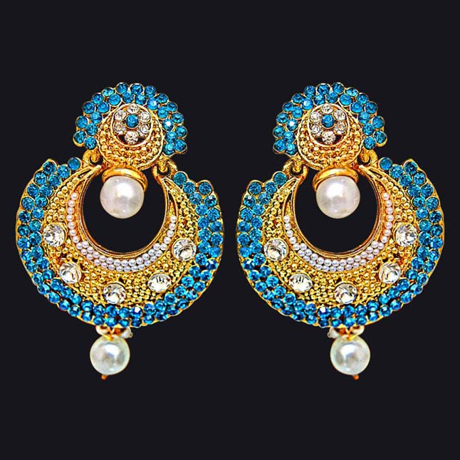 Traditional Round Shaped Blue & White Stone & Gold Plated Dangling Fashion Earrings for Women