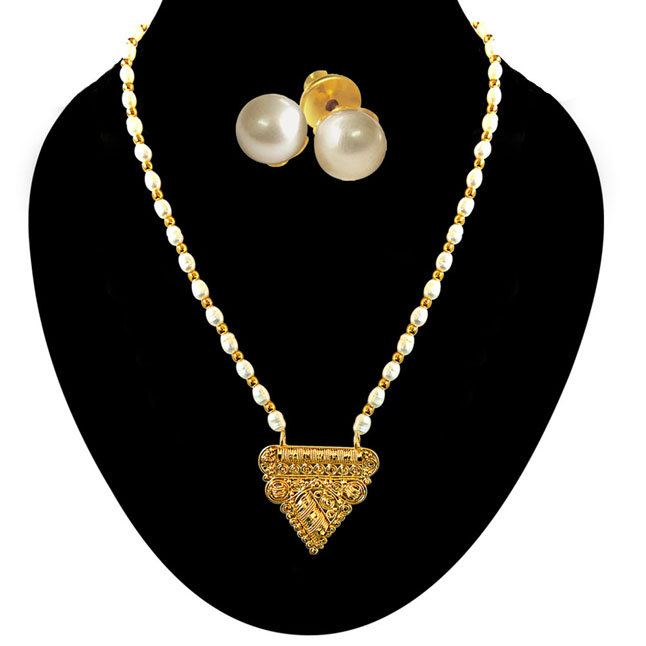 Traditional Triangular Shaped Gold Plated Pendants & Real Rice Pearl & Gold Plated Beads Necklace with Pearl Studs -Pearl Set