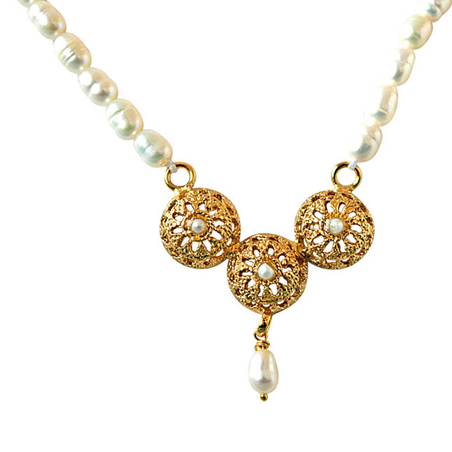 Traditionally Designed Vati Pendants & Real Rice Pearl Necklace with Pearl Studs -Pearl Set