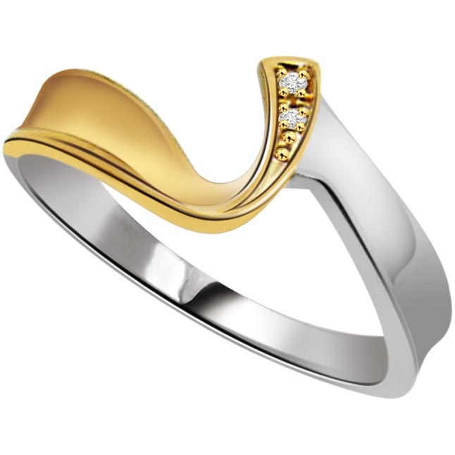 0.04 ct Diamond Two Tone rings -White Yellow Gold rings