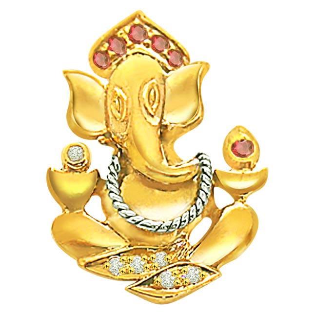 0.05 ct Ruby & Diamond Ganesh Pendants -Religious