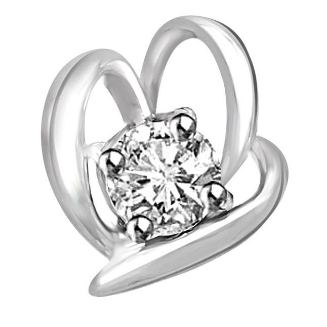 0.05 TCW Designer Diamond Pendants in White Gold -White Gold