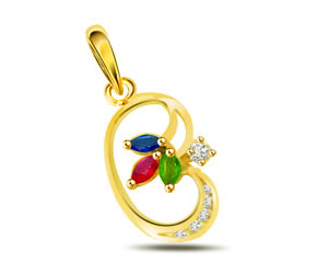 0.06 Diamond Precious Stone Pendants -Dia+Gemstone