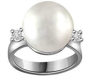 0.06ct Diamond & Pearl rings in 14K White Gold -Designer