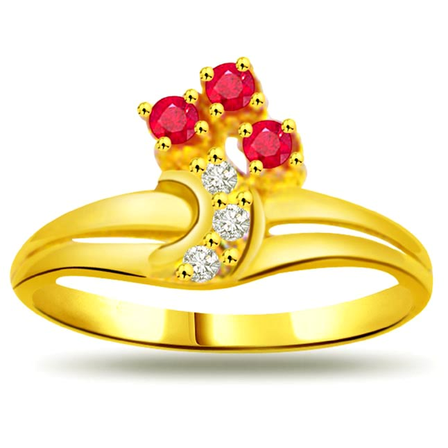 0.06ct Diamond & Ruby Gold rings SDR966