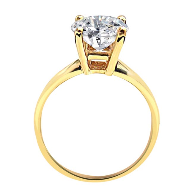 IGL CERT 0.07 cts Round Fancy Vivid Yellow/SI2 Solitaire Diamond Engagement Ring in 18kt Yellow Gold SDRSOL247D