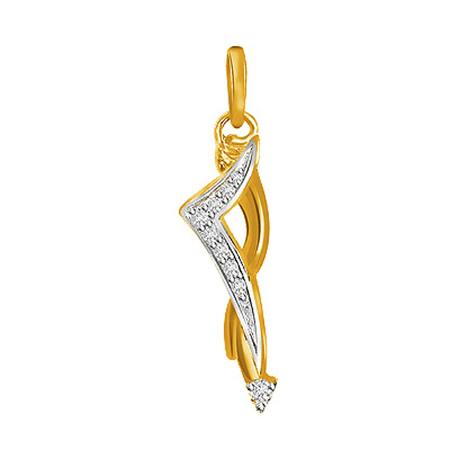 0.07 cts Two Tone 18K Diamond Pendants