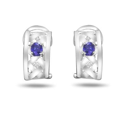 0.08 ct Diamond & Sapphire Gold Earrings -Dia & Gemstone