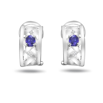 0.08 ct Diamond & Sapphire Gold Earrings -Dia & Gemstone