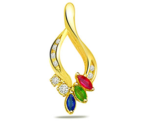 0.08 cts Diamond & Precious Stone Fancy Pendants -Dia+Gemstone