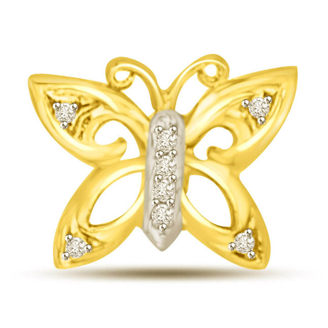 0.08CT Diamond Butterfly Pendants for My Beloved -Teenage