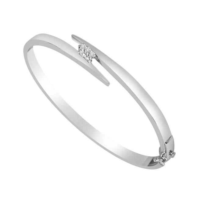 0.09 cts Real Diamond & Rhodium Plated 925 Sterling Silver Bracelet For Your Love -Diamond Bracelets