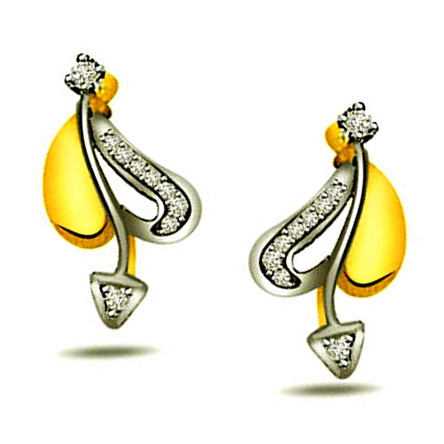 0.09ct Diamond Two -Tone Earrings -Two Tone Earrings