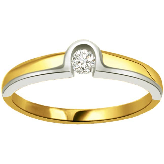 0.10 ct Diamond Two Tone Solitaire rings SDR368