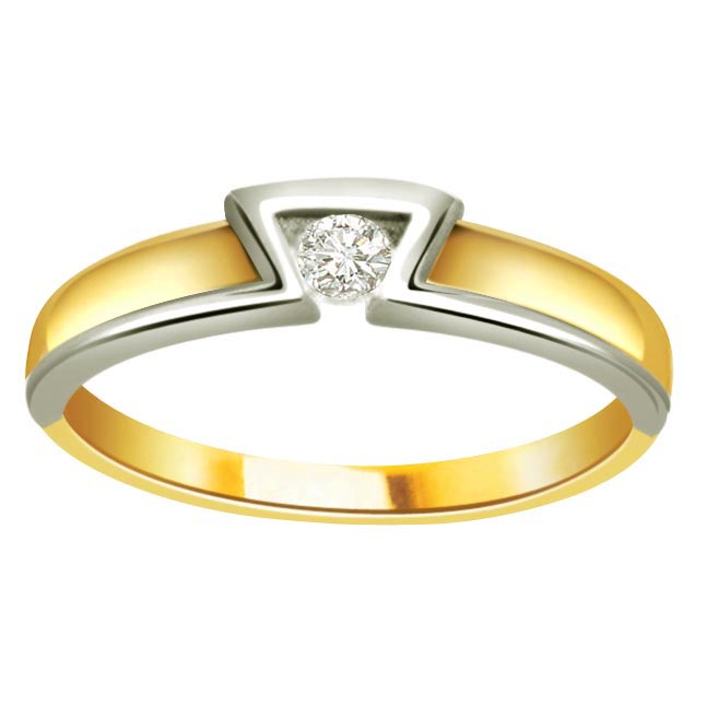 0.10 ct Diamond Two Tone Solitaire rings SDR365