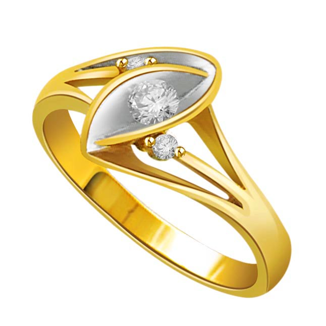 0.10 cts 3 Diamond Two Tone rings -3 Diamond rings