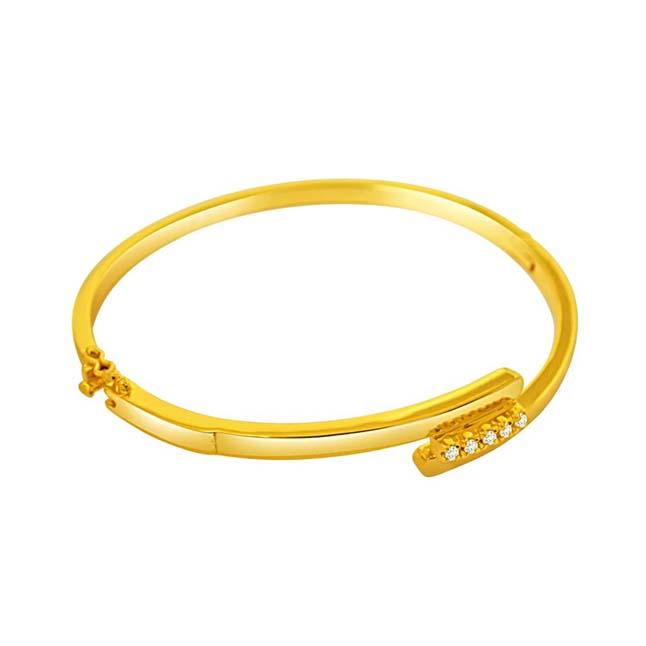 0.10 cts Real Diamond & Gold Plated 925 Sterling Silver Bracelet for Her -Diamond Bracelets