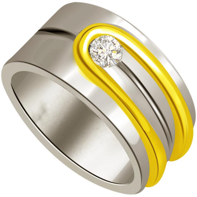 0.10 cts Diamond Men's rings -Two Tone Solitaire