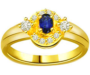 0.10 cts Diamond & Oval Sapphire rings