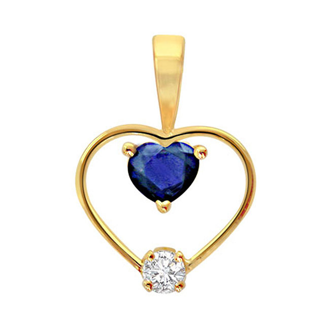 0.10 cts One Diamond Studded In Heart Shaped Pendants