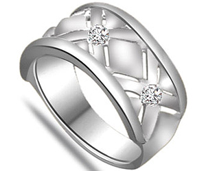 0.10 cts White Gold Wide B Diamond rings In 14K Gold -Designer