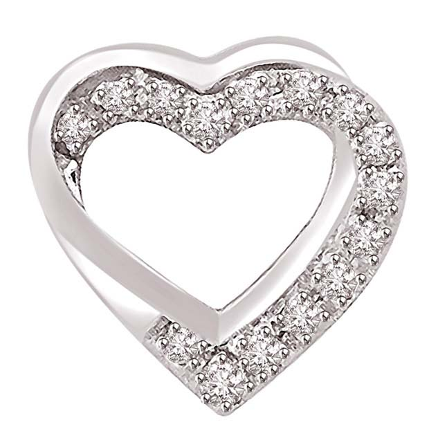 0.10 TCW Double Heart Shaped Pendants in White Gold