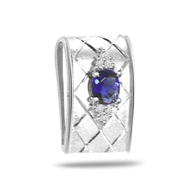 0.10ct Trendy Diamond & Sapphire 14kt Gold Pendants