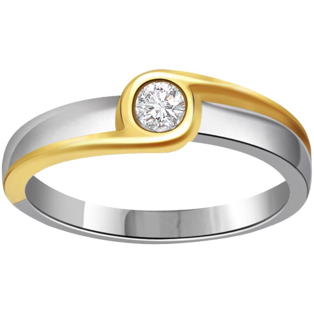 0.11 ct Diamond Two Tone Solitaire rings SDR363