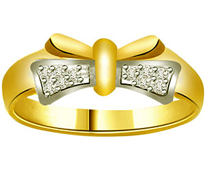 0.12 cts Diamond Two Tone 18K Gold rings