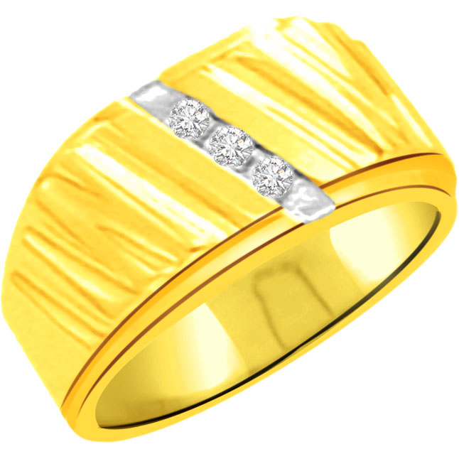 0.12ct 3 Diamond Classic Gold rings