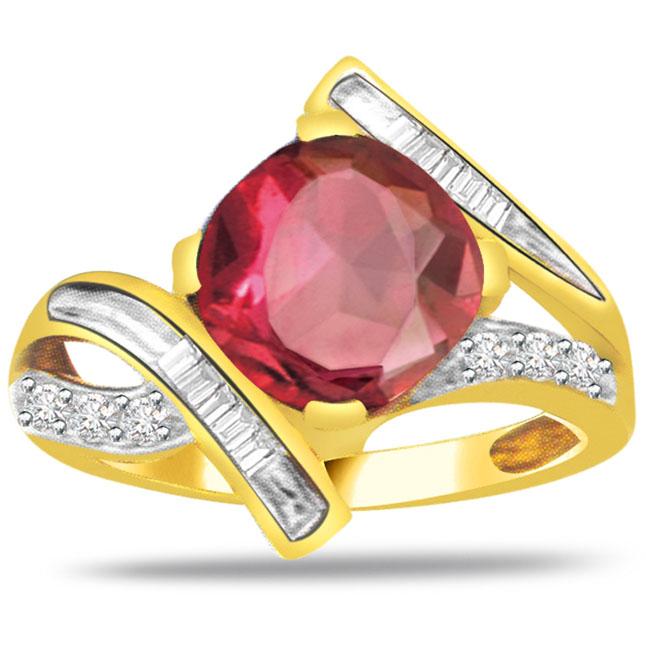 Leo Simha Rashi patible Diamond & Ruby Stone Pendant