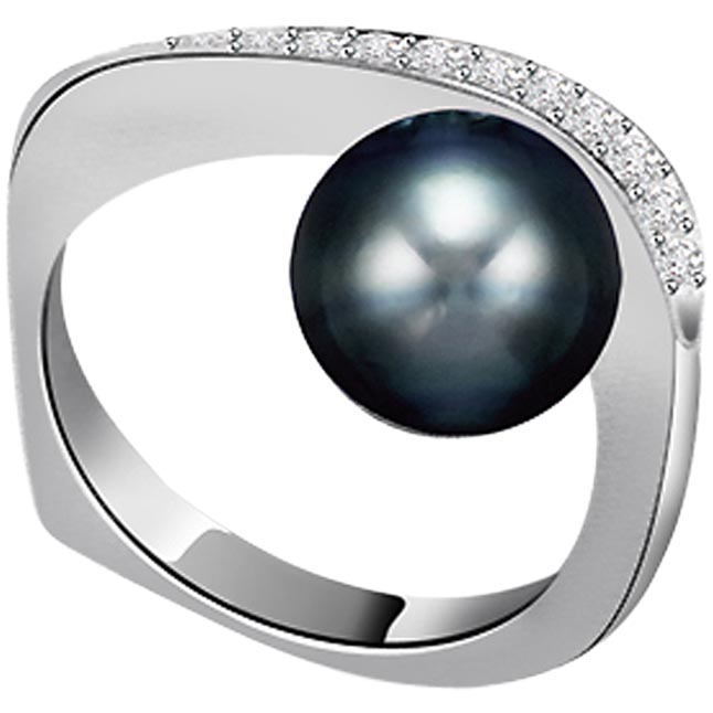 0.12ct Diamond Set In Black Tahitian Pearl rings