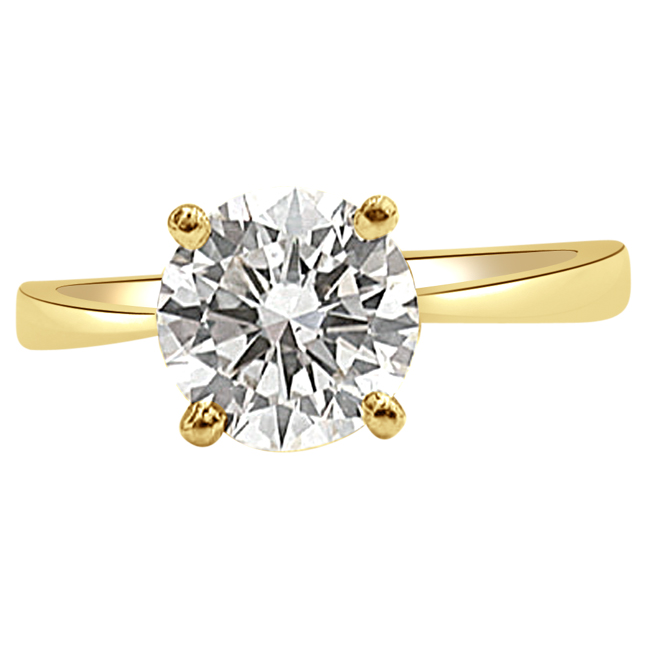 0.12CT Round Solitaire Engagement rings for Her in 4 prong 18kt Gold